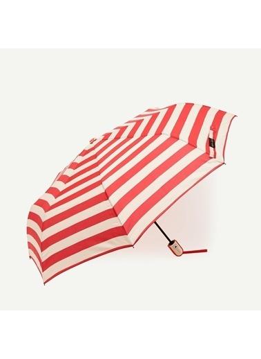 Yargıcı Kalın Yatay Çizgili Şemsiye Kırmızı